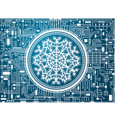 christmas hi-tech background with snowflake vector image