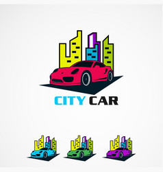 City car set logo with modern touch concept icon vector
