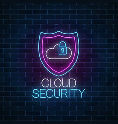 cloud service security glowing neon sign internet vector image