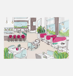 Colored freehand sketch of furnished interior of vector