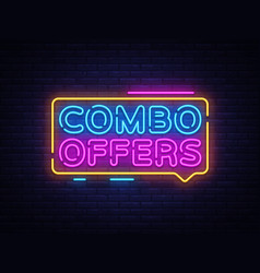 Combo offers neon text design template big vector