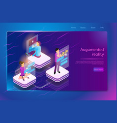 communication with augmented reality web banner vector image