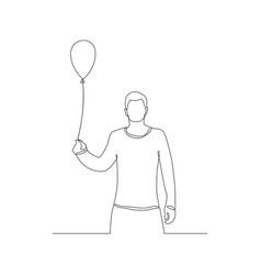 Continuous one line man with air balloon in her vector