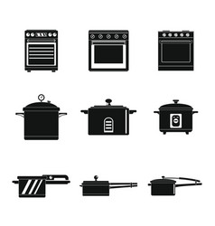 cooker oven stove pan icons set simple style vector image