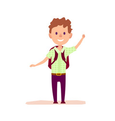 Curly cheerful boy with brief-bag waving by hand vector