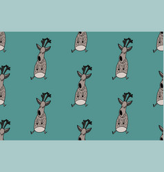doodle deer pattern vector image
