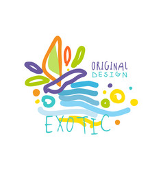 Exotic travel logo with doodle elements vector