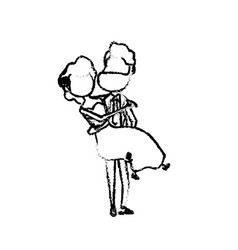 figure happy couple and man carrying his woman vector image