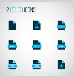 File icons colored set with locked file text vector