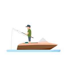 fisherman fishing standing with fishing in boat vector image