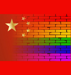Gay rainbow wall chinese flag vector