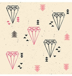 Geometric diamonds and triangles seamless pattern vector image vector image