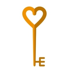 golden key shaped heart vector image