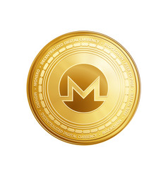 Golden monero blockchain coin symbol vector