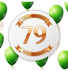 Golden number seventy nine years anniversary vector image