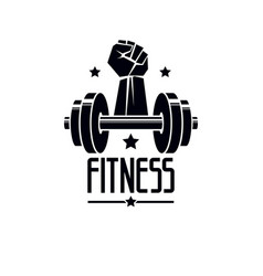 Gym and fitness logo template retro style emblem vector