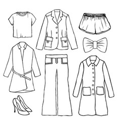 hand drawn doodle set with clothes set vector image