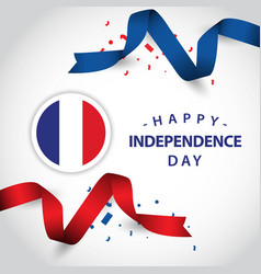 Happy france independence day template design vector