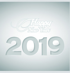 happy new year and numbers 2019 cut out of paper vector image