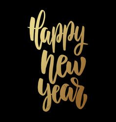 happy new year lettering phrase on dark vector image