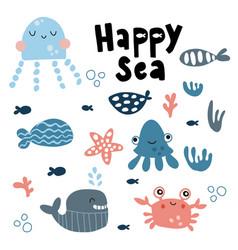 Happy sea crab vector
