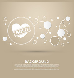 Heart icon on a brown background with elegant vector
