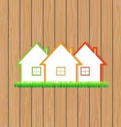 Houses for sale on the wooden background vector image
