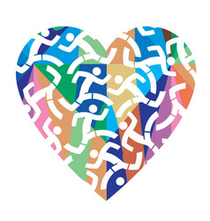 i love running colorful heart vector image