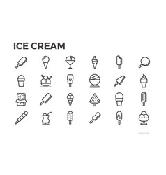Ice cream icons summer dessert tasty food vector