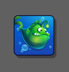 image green cartoon funny fish vector image