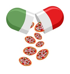 Italian national pill Medicine patriotic From the vector image