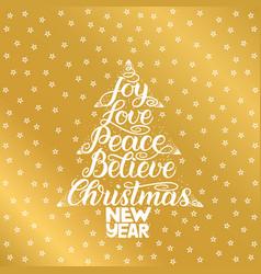 Joy love peace believe christmas new year vector