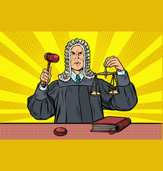 Judge with a hammer scales of justice vector