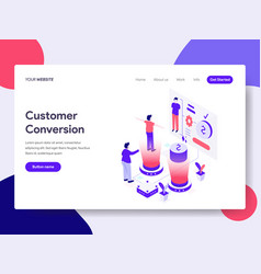 landing page template of customer conversion vector image