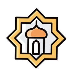 Lantern ornament eid mubarak islamic religious vector