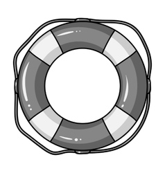 Lifebuoy icon in monochrome style isolated on vector