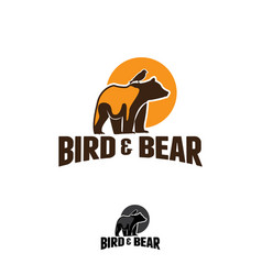 Logo bear with birds in vintage style vector