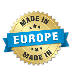 Made in europe gold badge with blue ribbon vector