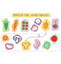 Matching vegetables game education kids games vector