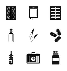 Medication icon set simple style vector