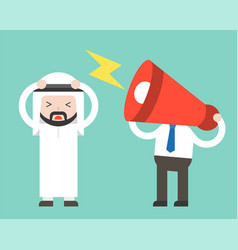 Megaphone head and annoying arab businessman vector
