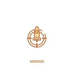 Mission concept 2 colored icon simple line vector
