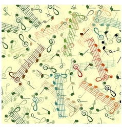 Music notation repeating pattern on a yellow vector