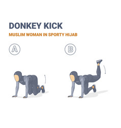 Muslim woman doing donkey kick home workout vector