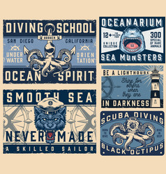 Nautical vintage colorful horizontal posters vector