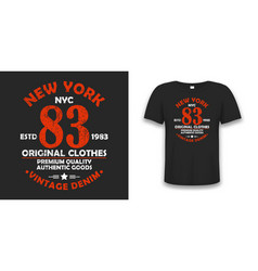 New york typography graphics for t-shirt vintage vector