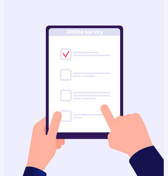 online survey internet surveying list hand vector image