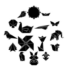 Origami icons set simple style vector