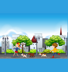 People and dog urban scene vector