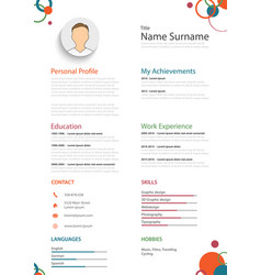 Professional colored resume cv with rings template vector